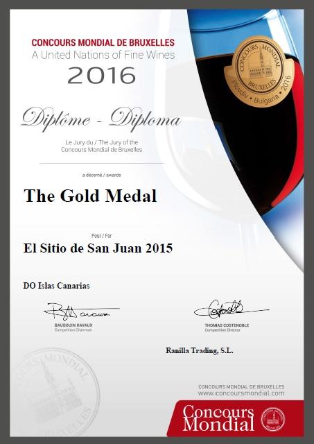 Concurso Mundial de Bruselas 2016 Medalla de oro