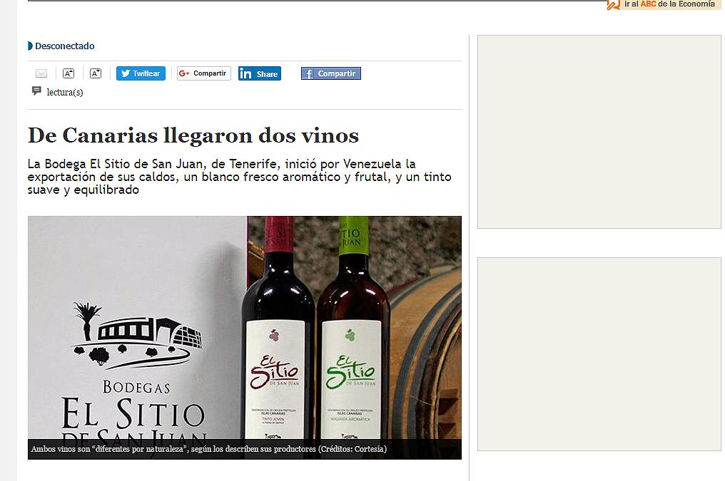 Los vinos de Bodegas El Sitio, protagonistas de las páginas de 'El Mundo' de Venezuela