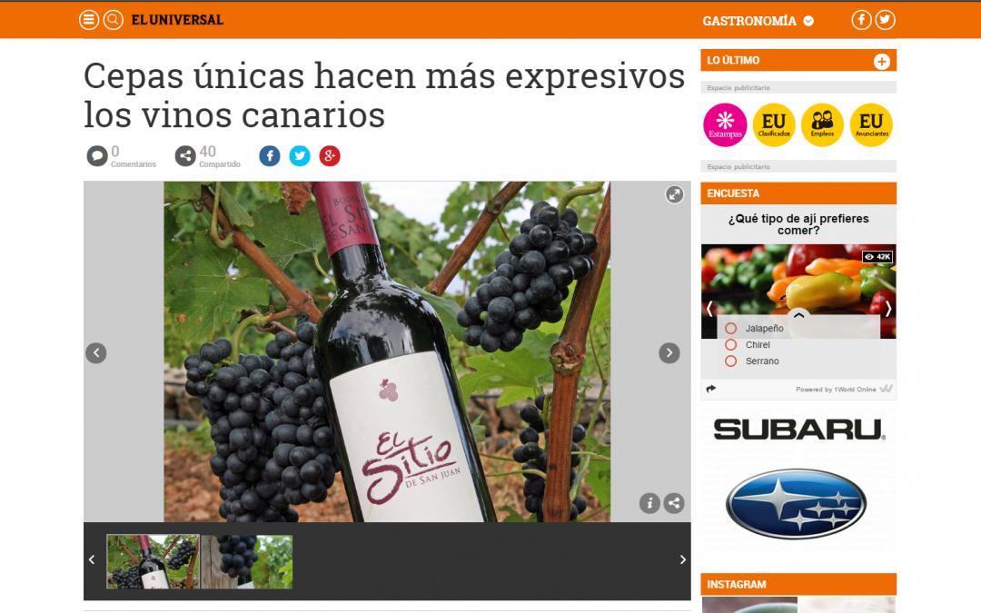 """El Universal de Venezuela: """"Cepas únicas hacen más expresivos los vinos canarios"""""""