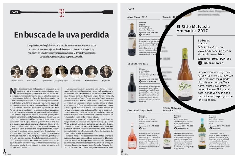 La Malvasía Aromática de Bodegas el Sitio en el especial de junio de la revista MIVINO
