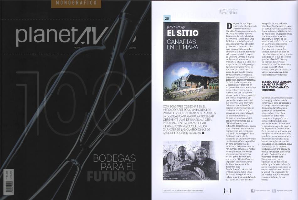 Bodegas El Sitio en el especial «100 Bodegas Para el futuro» de Planeta Vino