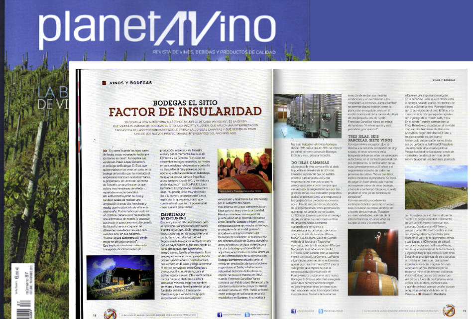 Bodegas El Sitio in the magazine Planeta Vino of the month of October
