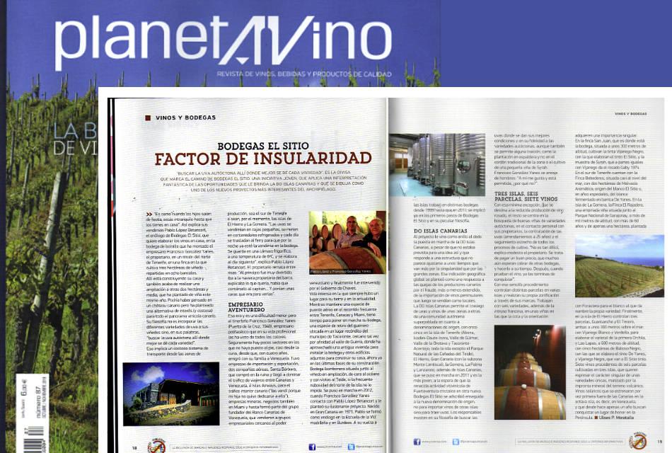 Bodegas El Sitio en la revista Planeta Vino del mes de Octubre