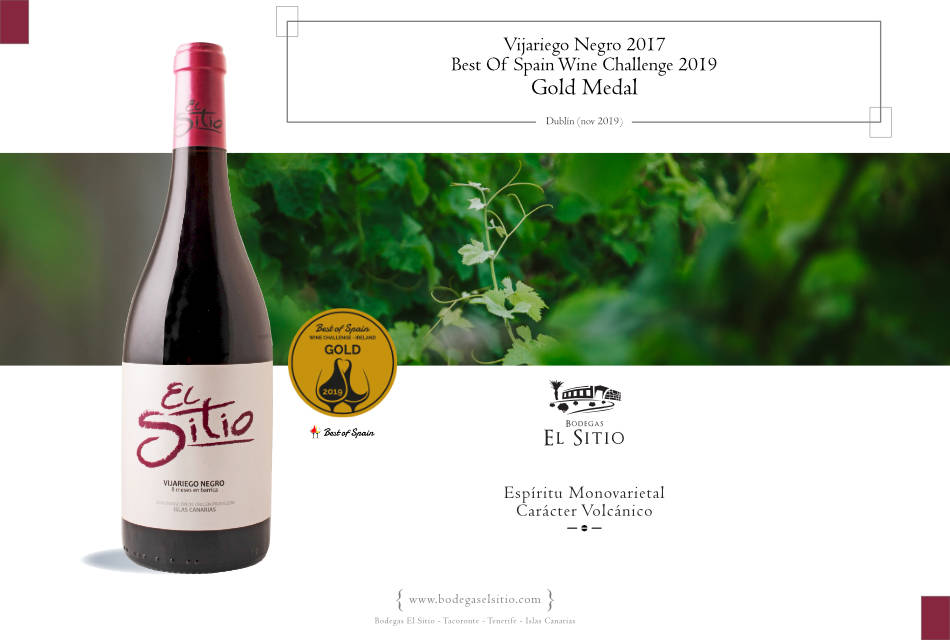 "El Sitio Vijariego Negro 2017, obtiene el ""Best Of Spain Wine Challenge Gold"" en el certamen ""Best Of Spain Wine Challengue Irlanda 2019"""