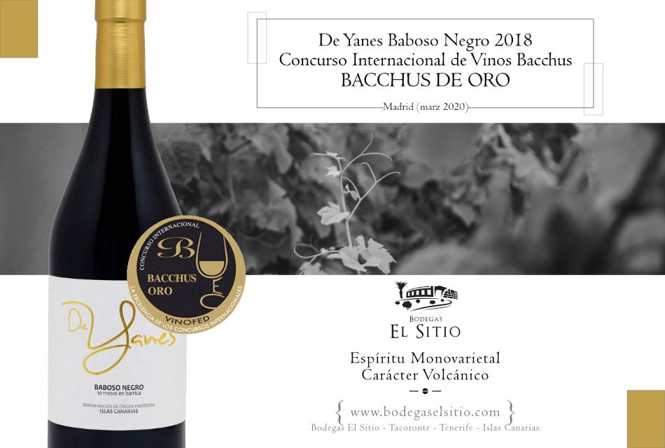 De Yanes Baboso Negro 2018, premiado con el Bacchus de Oro en el XVIII Concurso Internacional de Vinos Bacchus 2020